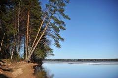 Paisaje del norte en Finlandia abril Imagen de archivo