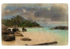 Paisaje del Océano Índico, Seychelles. Postal vieja. ilustración del vector