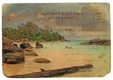 Paisaje del Océano Índico, Seychelles. Postal vieja. stock de ilustración
