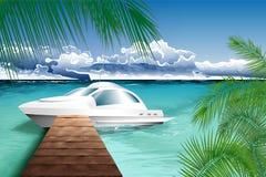 Paisaje del océano con el yate stock de ilustración