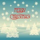 Paisaje del ornamento de la Feliz Navidad Imagenes de archivo