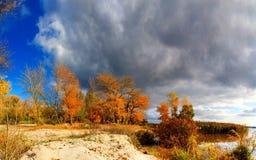 Paisaje del otoño - árboles con las hojas coloreadas y las nubes oscuras Imagen de archivo libre de regalías