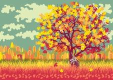 Paisaje del otoño con el árbol anaranjado ilustración del vector