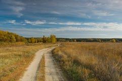 Paisaje del otoño con el camino Imagen de archivo