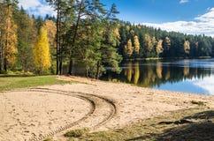 Paisaje del otoño con el lago del bosque Imagen de archivo