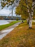 Paisaje del otoño con el puente Imágenes de archivo libres de regalías
