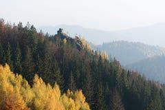 Paisaje del otoño con una roca en el bosque Fotos de archivo