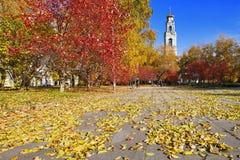 Paisaje del otoño con una torre de alarma Foto de archivo