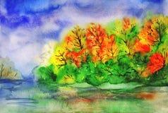 Paisaje del otoño de la acuarela Bosque y río Fotos de archivo libres de regalías