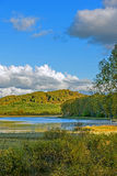 Paisaje del otoño del lago Sun Imagenes de archivo