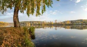 Paisaje del otoño en el río Ural, el Irtysh, Rusia Foto de archivo