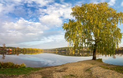 Paisaje del otoño en el río Ural, el Irtysh, Rusia Imagen de archivo libre de regalías
