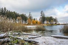 Paisaje del otoño en la costa del río Obi en Siberia Fotos de archivo libres de regalías