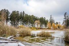 Paisaje del otoño en la costa del río Obi en Siberia Foto de archivo