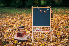Paisaje del otoño en la pizarra de la escuela Fotos de archivo