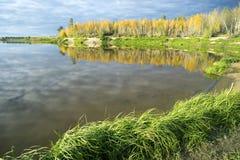Paisaje del otoño en las orillas del lago Foto de archivo libre de regalías