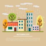 Paisaje del otoño en un día nublado Ciudad con los árboles y la lluvia amarillos Caída de la hoja Ilustración del vector ilustración del vector