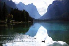 Paisaje del otoño del lago Braies en las montañas de la dolomía fotografía de archivo