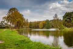 Paisaje del otoño por el lago Foto de archivo libre de regalías