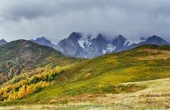 Paisaje del otoño y picos de montaña nevosos Bosque del abedul en luz del sol Canto caucásico principal Mountain View del soporte Foto de archivo