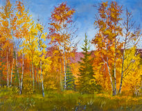Paisaje del otoño, pintura al óleo Foto de archivo