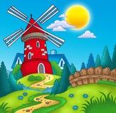 Paisaje del país con el molino rojo ilustración del vector