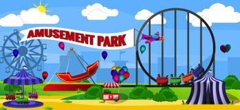 Paisaje del parque de atracciones Imagen de archivo libre de regalías