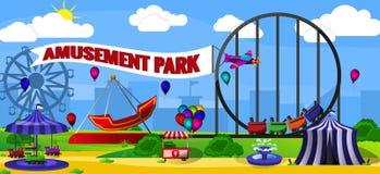Paisaje del parque de atracciones Imagenes de archivo