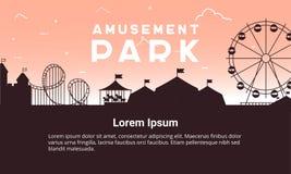 Paisaje del parque de atracciones de la silueta plano Ejemplo del parque de atracciones para el diseño infographic del mapa stock de ilustración