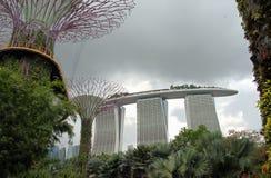 Paisaje del parque de Singapur a los edificios altos fotografía de archivo