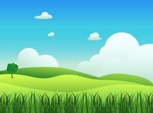 Paisaje del prado con vector del primero plano de la hierba ilustración del vector