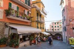 Paisaje del pueblo de Riomaggiore Imágenes de archivo libres de regalías