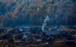 Paisaje del pueblo de Xinjiang Hemu Fotografía de archivo