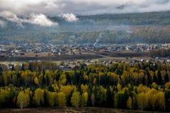 Paisaje del pueblo de Xinjiang Hemu Fotografía de archivo libre de regalías