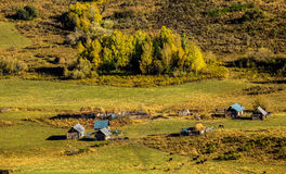 Paisaje del pueblo de Xinjiang Hemu Foto de archivo