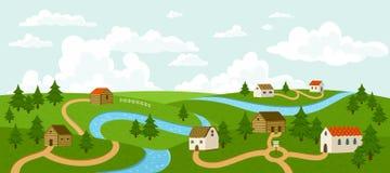 Paisaje del pueblo del verano Imagen de archivo