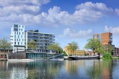 Paisaje del puerto de Pius, un área extensa adyacente al centro de ciudad de Tilburg, Países Bajos Foto de archivo