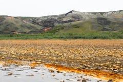 Paisaje del río cercano a las colinas que fuman en el norte lejano de Canadá en Horton River, territorios del noroeste imagen de archivo