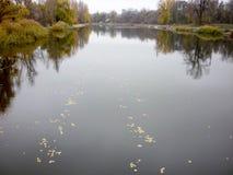 Paisaje del río con los bancos en otoño Foto de archivo