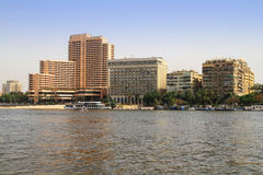 Paisaje del río del Nilo en El Cairo, Egipto Imágenes de archivo libres de regalías