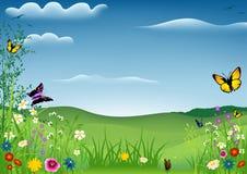 Paisaje del resorte con las mariposas Imágenes de archivo libres de regalías