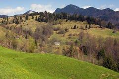 Paisaje del resorte en las montañas de Rumania Foto de archivo libre de regalías