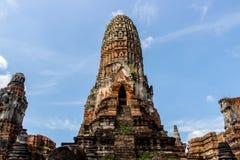Paisaje del ` s de Tailandia en el parque histórico de Ayutthaya, Ayutthaya, 2560, contexto brillante del cielo imágenes de archivo libres de regalías
