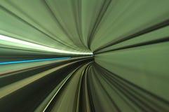 Paisaje del túnel del tren móvil en el torneado Foto de archivo libre de regalías