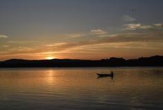 Paisaje del tanque de la puesta del sol Fotografía de archivo