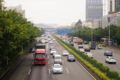 Paisaje del tráfico de la sección de Baoan de la autopista nacional de Shenzhen 107 Foto de archivo libre de regalías