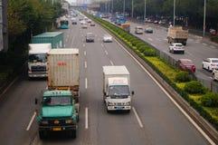 Paisaje del tráfico de la sección de Baoan de la autopista nacional de Shenzhen 107 Fotos de archivo libres de regalías