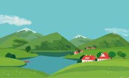 Paisaje del valle de la montaña stock de ilustración