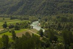 Paisaje del valle de Valtelina Foto de archivo