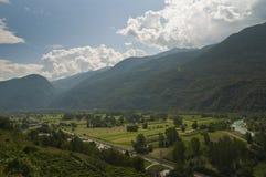 Paisaje del valle de Valtelina Imágenes de archivo libres de regalías